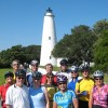 Ocracoke Bicycle Tour Carolina Tailwinds group at the Ocracoke Lighthouse