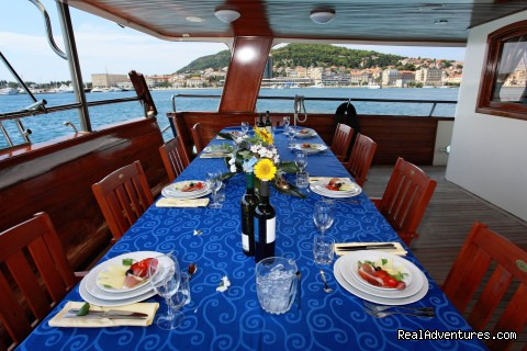 On deck dinning - Sail The Adriatic Sea In Style.