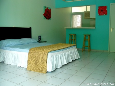 Colorful low budget studio apartments on Curacao