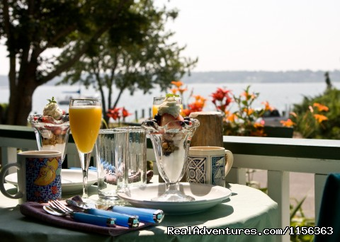 Vine University - Long Island Wine Making Class A gourmet breakfast on the waterfront porch