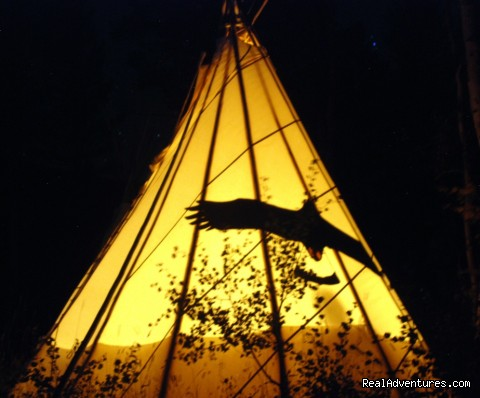 Tipi campfire - Bison Quest bison and wildlife adventure vacations