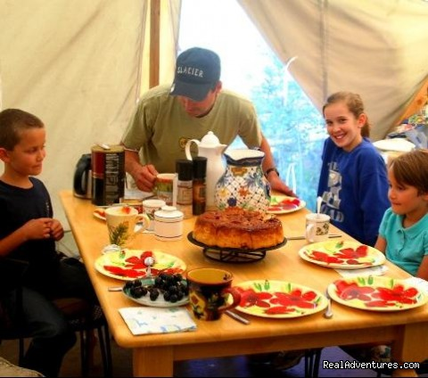 Breakfast in the outfitter cook tent - Bison Quest bison and wildlife adventure vacations
