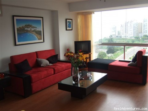 Living room - Rent Brand new Apartment with Ocean View in Lima