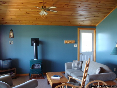 Cottage Interior- Cathedral Ceiling/Propane Stove - Nova Scotia Romantic Beachfront Cottage