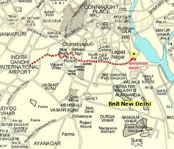 Location Map - Delhi bed and breakfast homestay