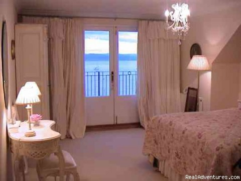 Bedroom 3 & French doors onto terrace. - 5 star Water's Edge Bed and Breakfast in Scotland