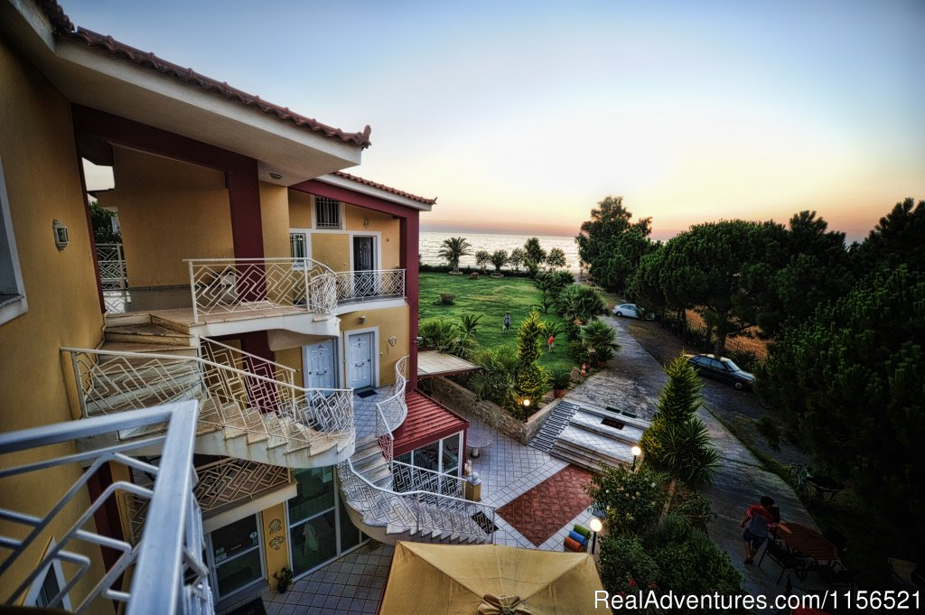 The Irida Resort is situated 12 steps from the beach in Kalo Nero, the best beach of Kyparissia, in an area of 7.000 sm. The wide balconies offer magnificent unobstructed views of the Ionian Sea and mountains, all apartments are lux, fully equipped.