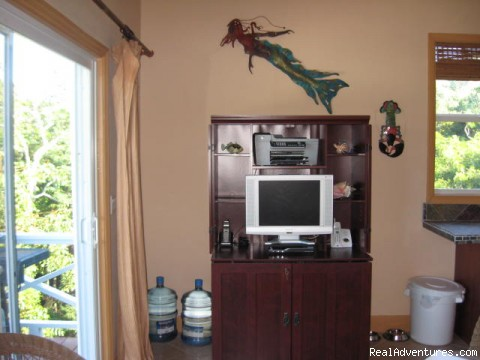 Cottage Living Room Entertainment Center - Exuma Blue-Ocean View  from Jaccuzi Tub in Bedroom
