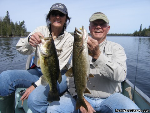 Bluffpoint Lake doubleheader largemouth & lake trout - Slippery Winds Wilderness Lodge, Yoke Lake NW Ont.