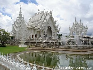 Only handcrafted white temple in Thailand. - A Thai Village Home Stay for Cultural Experience.
