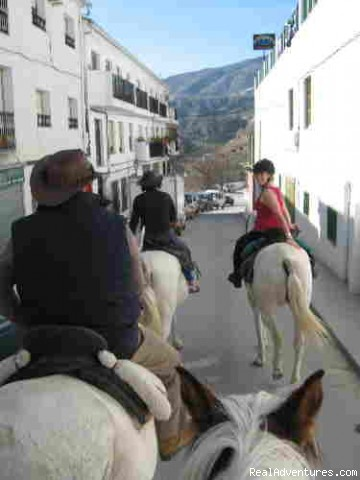 Riding through Castril de La Pena - Adventure riding holiday Andalucia