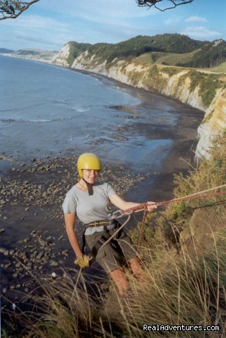 Abseiling at White Cliffs. - Guided Climbs And Treks On Mt Taranaki/egmont