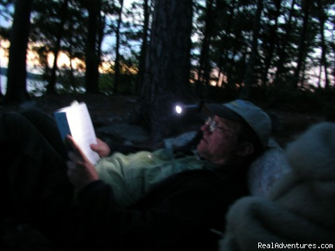 Night time reading on Agnes Lake - Ontario/Quetico Park canoe trip