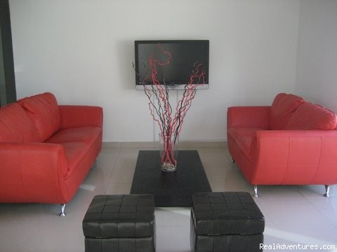 Living Room with 42 new plasma TV  - Ocean Villa 2 blocks from the beach in San Juan