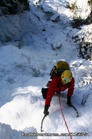 Roaring Brook Falls WI3+ Adirondacks - Mountain Skills Climbing Guides- rock/ice climbing