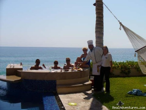 Having snacks at the pool - Chef , butler and Transportation services in Cabo