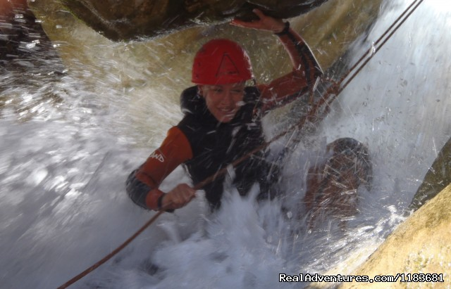 Easy abseiling under water... Big emotion - Canyoning and adventure in Sierra de Guara - Spain