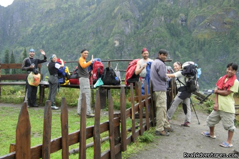 The group from Italy and  thinking to cross the Tibetan Vill - Nepal Trekking company offer Trekking,Tour,