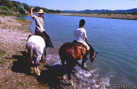 Crossing of the Durance River for the trip up to Camargue - Cap Rando - Horseback Riding Vacations In Provence