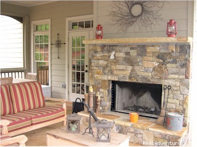 Screen Porch Wood Burning Fireplace - Mountain Vista Home Rental in Big Canoe Resort