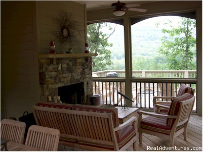 Screened Porch with seating for everyone next to woods - Mountain Vista Home Rental in Big Canoe Resort