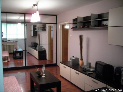 Living room - Cheap accommodation in Brasov Romania
