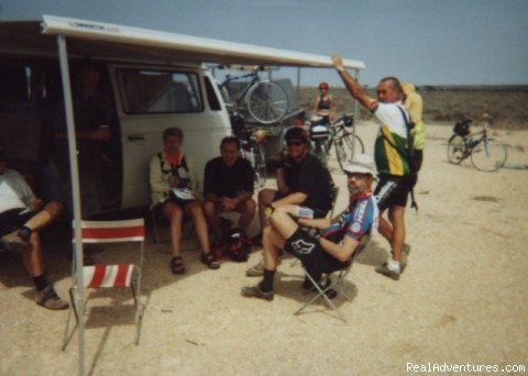 Riders cooling off on a prior trip - Cycle Australia - Up the Centre and Around 2015