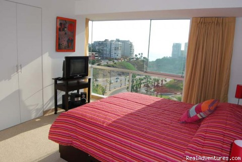 Master Bedroom with great views - Brand new Ocean View Condo in Miraflores