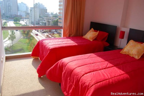 Secondary Bedroom with 2 comfy single beds - Brand new Ocean View Condo in Miraflores
