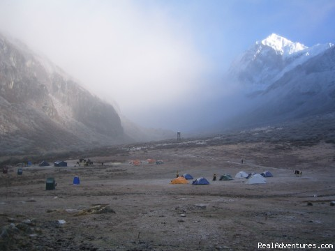 trekking and mountaineering in Sikkim India Yak and Yeti trekking camp at Dzongri Gochala trail