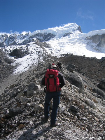 A trekker towards Mt. Thingchinkhang - trekking and mountaineering in Sikkim India