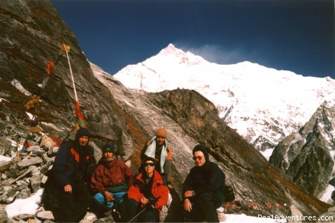 Trekkers at Gochala pass in West Sikkim - trekking and mountaineering in Sikkim India