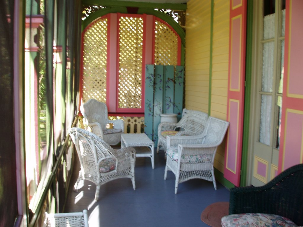 Half Of Private Side Porch | Image #3/7 | Rent a Victorian B&B, 2 blocks to the beach