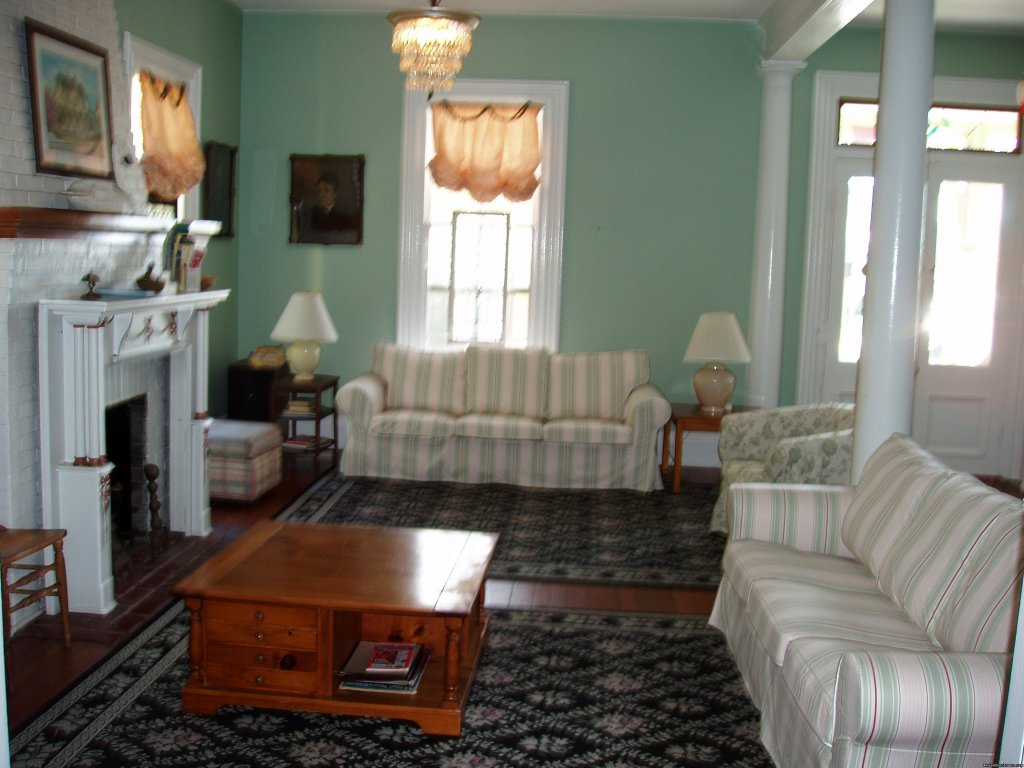 Expansive living room has dv and dvd, gas fireplace | Image #4/7 | Rent a Victorian B&B, 2 blocks to the beach