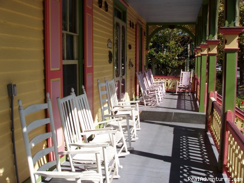 The front portion of the expansive porch - Rent a Victorian B&B, 2 blocks to the beach