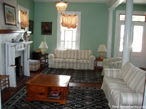 Expansive living room has dv and dvd, gas fireplace - Rent a Victorian B&B, 2 blocks to the beach