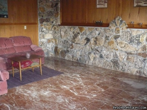 Marble living room floor -  Oregon Wilderness Castle Retreat