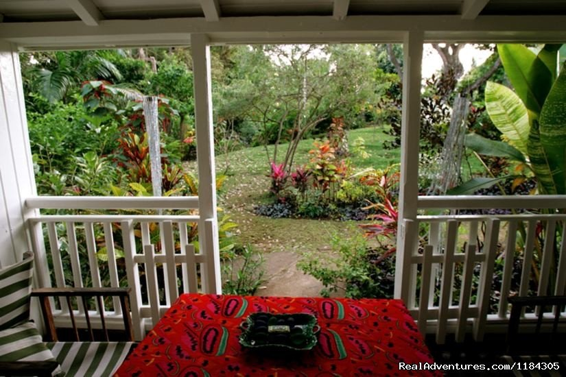 landscape garden from small house inside veranda | Image #3/5 | Historic wooden houses in 25 acres, 2 beaches.