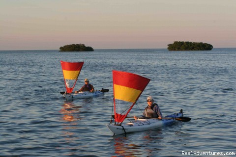 easy downwind kayak sailing using Pacific action sails - National Wildlife Refuge Kayak & Boat Tours