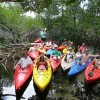 school group up the secret creek with half a paddle