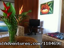 Living room with flat t.v. - Brazil, Trancoso: apartment in golf condo at beach