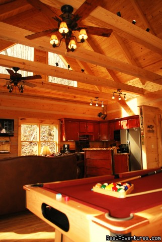 Spacious living room, pool table & hot tub - Log Cabin Vacation Rentals Great Smoky Mountain NC