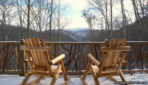 The viewing deck from Adohi Lodge  - Log Cabin Vacation Rentals Great Smoky Mountain NC
