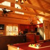 Log Cabin Vacation Rentals Great Smoky Mountain NC Spacious living room, pool table & hot tub