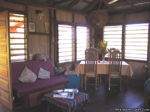 Living + Dining area w/ocean/woodland views - Treetop Retreat- An Elemental Belizean Experience!