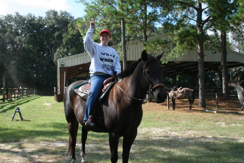 Guest on horse | Image #2/17 | Unique Horse & Nature Resort in Ocala, FL