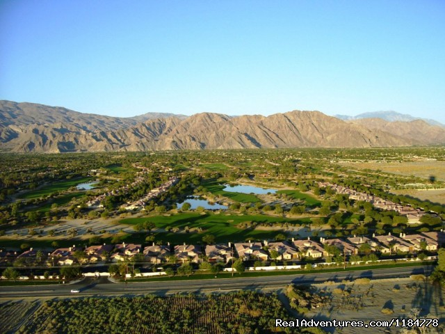 Palm Springs Golf Courses from Above - Hot Air Balloon Flights over Palm Springs