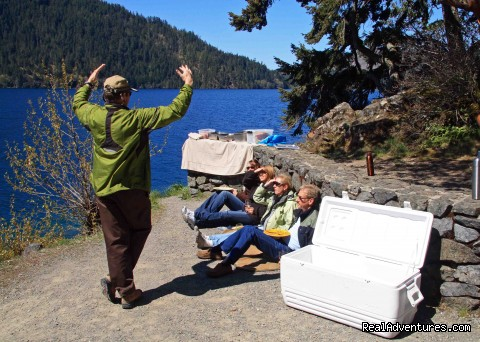 Escape Artist Jeff Explaining the Formation of Lake Crescent - Authentic NW Nature, Wildlife, Wine & Active tours