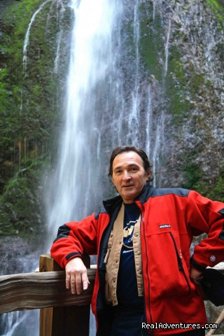 Escapist in front of Marymere Falls, Olympic Peninsula - Authentic NW Nature, Wildlife, Wine & Active tours