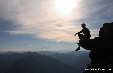 Enjoying the view of Mt. Rainier from Granite Mountain - Authentic NW Nature, Wildlife, Wine & Active tours